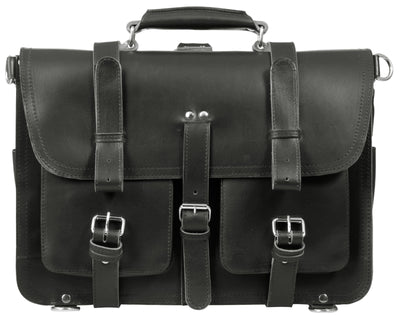 "HIDEONLINE 17"" SADDLE BAG / BRIEFCASE / SATCHEL IN BLACK VEGETABLE TANNED LEATHER"