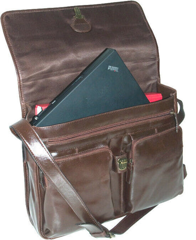 CHESTNUT BROWN REAL LEATHER ORGANISER BAG, SHOULDER BAG, LAPTOP BAG