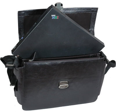 HIDEONLINE ELEGANT&LUXURIOUS ITALIAN BLACK REAL LEATHER BRIEFCASE