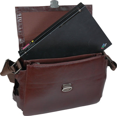 HIDEONLINE ELEGANT&LUXURIOUS ITALIAN BROWN REAL LEATHER BRIEFCASE