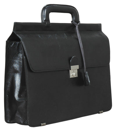 HIDEONLINE MODERN STYLED EXECUTIVE LEATHER BLACK BRIEFCASE