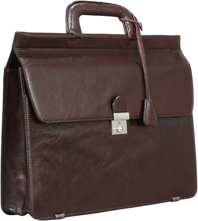 HIDEONLINE MODERN STYLED EXECUTIVE LEATHER BROWN BRIEFCASE
