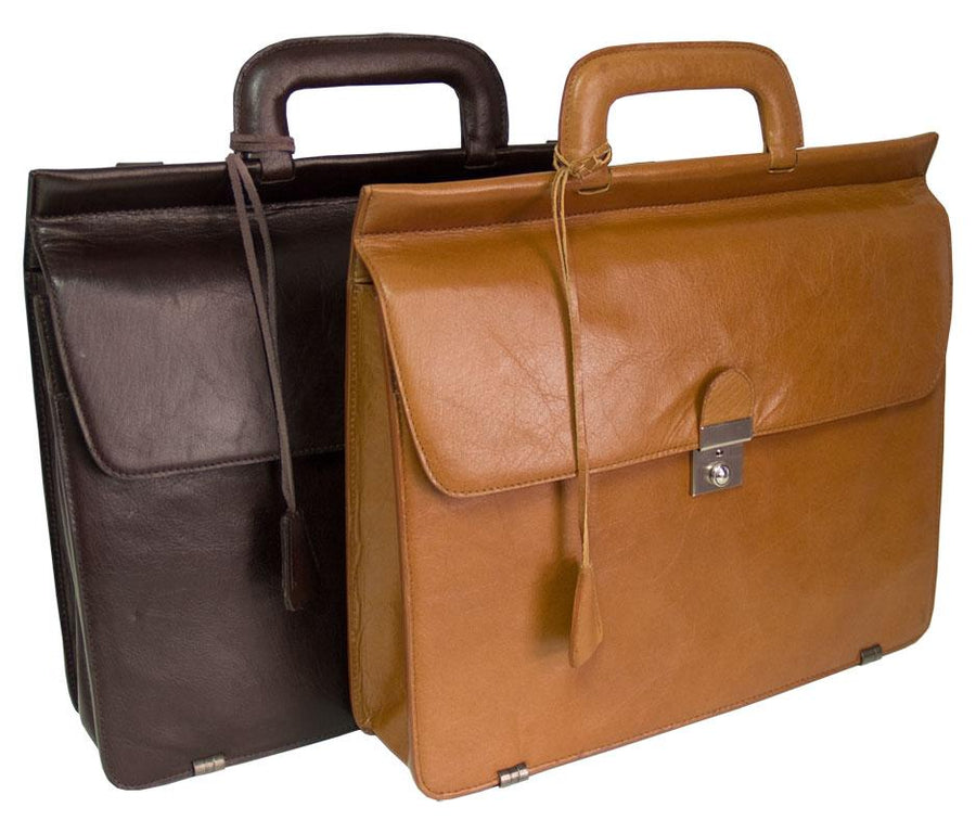 HIDEONLINE MODERN STYLED EXECUTIVE LEATHER TAN BRIEFCASE