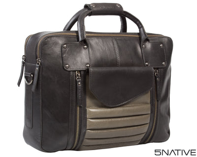 5NATIVE BLACK AND GREY EAST WEST LEATHER PORTFOLIO MESSENGER BAG