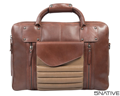 5NATIVE BROWN AND OLIVE EAST WEST LEATHER PORTFOLIO MESSENGER BAG