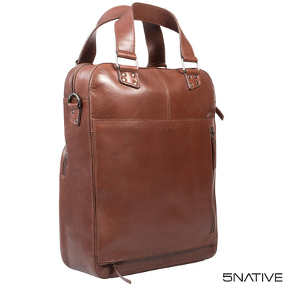 5NATIVE BROWN AND OLIVE LEATHER MENS LAPTOP TOTE BAG