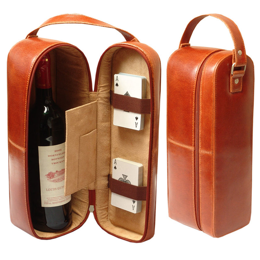REAL LEATHER TRAVEL SINGLE WINE CARRIER CASE TOP HANDLE BOX GIFT SET - COGNAC