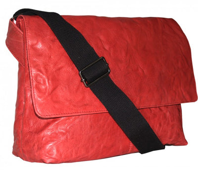 HIDEONLINE RED REAL LEATHER LAPTOP COMPATIBLE MESSENGER/MAN BAG