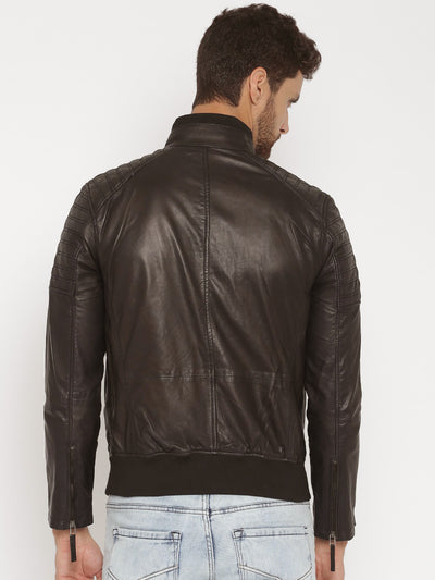 BLACK FRIDAY SALE!! BROWN REAL LEATHER MENS BOMBER RACER BIKER STYLE JACKET