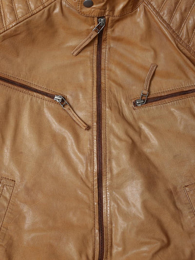BLACK FRIDAY SALE!! TAN REAL LEATHER MENS BOMBER RACER BIKER STYLE JACKET