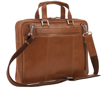 LEONHARD HEYDEN CHICAGO 6801 COGNAC LEATHER BRIEFCASE