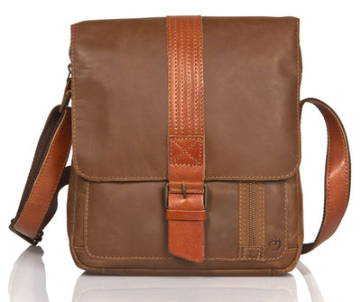 UBERBAG OLIVE BROWN /TAN LEATHER MILITARY SMALL N/S MESSENGER / MAN BAG