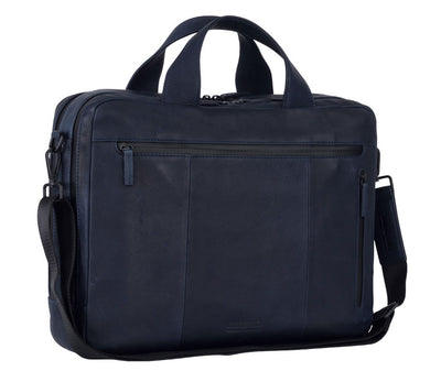 LEONHARD HEYDEN DEN HAAG 6750 BLUE ZIPPED BRIEFCASE 2 COMPARTMENTS