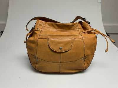 FOSSIL LIBERTY DRAW BUCKET MUSTARD REAL LEATHER HANDBAG