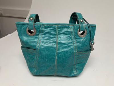 FOSSIL HATHAWAY GLAZED TURQUOISE SHOPPER REAL LEATHER HANDBAG