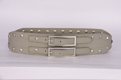 PAGANI REAL LEATHER ASH GREY TRENDY STUDDED LADIES HIGH WAIST BELT