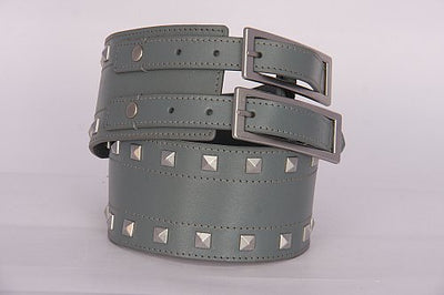 PAGANI REAL LEATHER GREY TRENDY STUDDED LADIES HIGH WAIST BELT