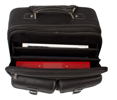 LEATHER TROLLEY CASE / WHEELED LAPTOP BUSINESS BAG IN BLACK