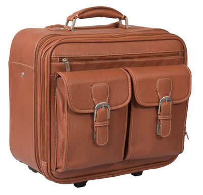 LEATHER TROLLEY CASE / WHEELED LAPTOP BUSINESS BAG IN TAN