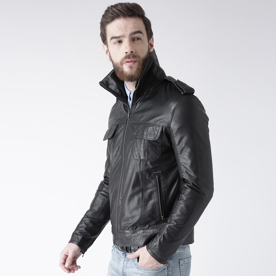 BLACK FRIDAY SALE!! BLACK REAL LEATHER MENS BOMBER BIKER STYLE JACKET WITH DOUBLE COLLAR