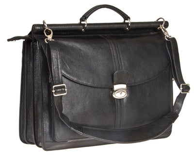 "HIDEONLINE BLACK LEATHER TOP ROD 15"" LAPTOP BRIEFCASE"
