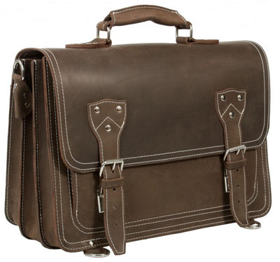 HIDEONLINE RUGGED MUD BROWN CRAZY HORSE LEATHER SATCHEL BAG / BRIEFCASE / BACKPACK