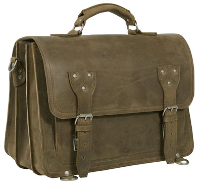 HIDEONLINE RUGGED STONE CRAZY HORSE LEATHER SATCHEL BAG / BRIEFCASE / BACKPACK