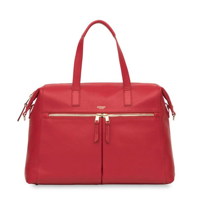 KNOMO AUDLEY CHILLI RED SLIM LEATHER SHOULDER BAG / WORKBAG