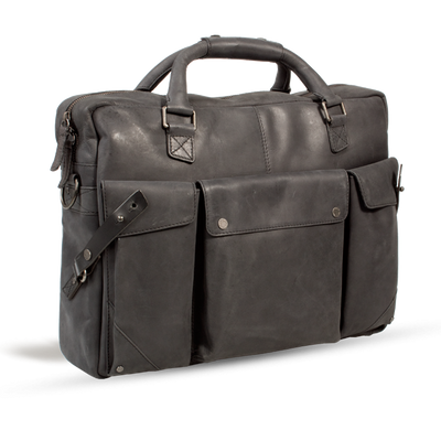 UBERBAG INSIGNIA GRAPHITE GREY LEATHER PORTFOLIO / MESSENGER BAG