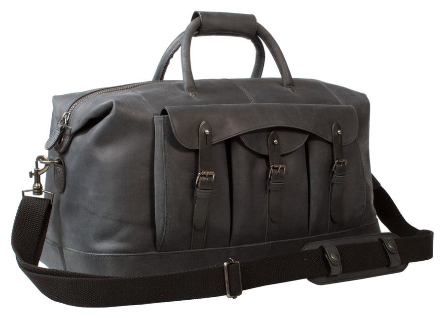 UBERBAG GOBI GRAPHITE GREY LEATHER HOLDALL BAG