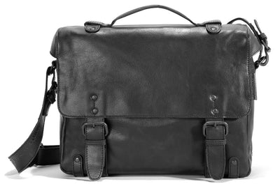 AUNTS & UNCLES BRAIN BLACK LEATHER MEDIUM BUSINESS CASE / MESSENGER BAG/ SHOULDER BAG