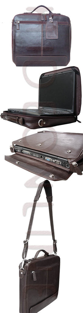 "HIDEONLINE REAL LEATHER CHESTNUT BROWN 17"" LAPTOP CASE"