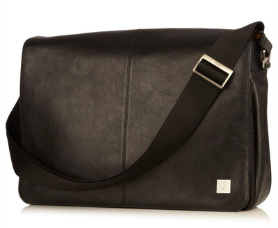KNOMO BUNGO BLACK REAL LEATHER EXPANDIBLE MESSENGER BAG