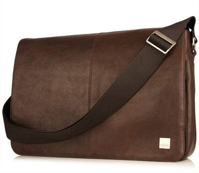 KNOMO BUNGO BROWN REAL LEATHER EXPANDIBLE MESSENGER BAG