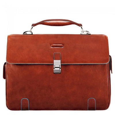PIQUADRO BLUE SQUARE CA1066B2 ORANGE LEATHER LAPTOP BRIEFCASE