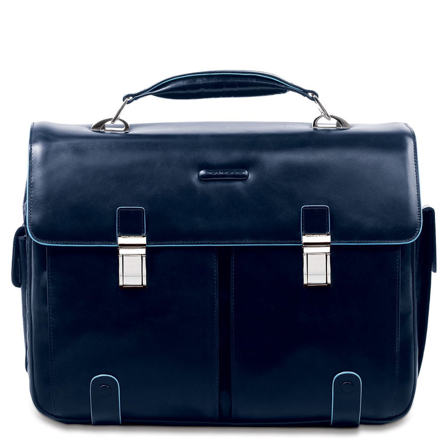 PIQUADRO BLUE SQUARE NIGHT BLUE LEATHER LAPTOP BRIEFCASE