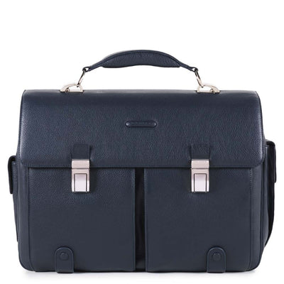 PIQUADRO MODUS NIGHT BLUE LEATHER LAPTOP BRIEFCASE