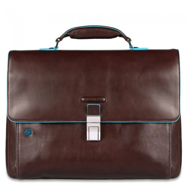 73c8a817bf9 PIQUADRO BLUE SQUARE CA3111B2 MAHOGANY LEATHER LAPTOP BRIEFCASE ...