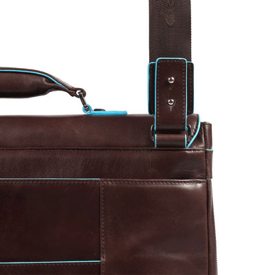 PIQUADRO BLUE SQUARE CA3111B2 MAHOGANY LEATHER LAPTOP BRIEFCASE