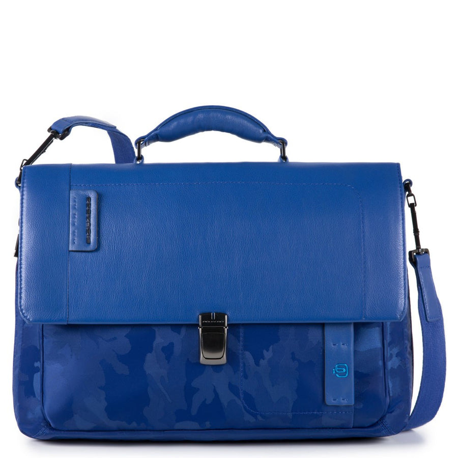PIQUADRO PULSE CA3111P16 CAMO BLUE LEATHER/ FABRIC LAPTOP BRIEFCASE