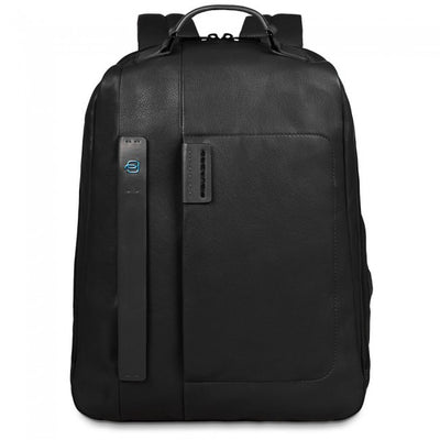 PIQUADRO PULSE LARGE LAPTOP BACKPACK IN BLACK