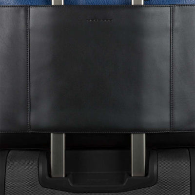 PIQUADRO THAMES CA4016S90 BLACK BLUE LEATHER LAPTOP BRIEFCASE