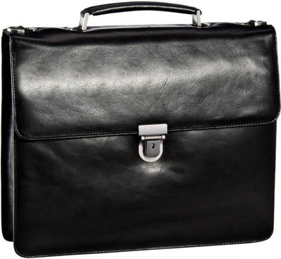LEONHARD HEYDEN CAMBRIDGE 5250 REAL LEATHER BLACK BRIEFCASE