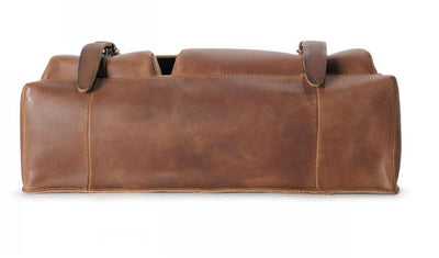 AUNTS & UNCLES TEACHERS PET HAZELNUT / TAN LEATHER XL BUSINESS MESSENGER BAG