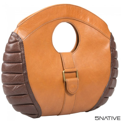 5NATIVE BROWN AND TAN LADIES LEATHER CLUTCH