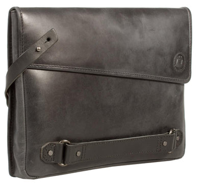 UBERBAG INSIGNIA MEN'S GRAPHITE GREY LEATHER CLUTCH