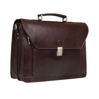 HIDEONLINE BROWN LEATHER LAPTOP BRIEFCASE