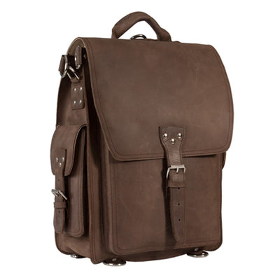 COMBO XMAS OFFER OF HIDEONLINE LEATHER MUD BROWN CRAZY HORSE BACKPACK / MESSENGER BAG PLUS MUD BROWN HOLDALL