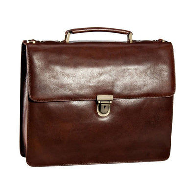 LEONHARD HEYDEN CAMBRIDGE 5250 REAL LEATHER BRIEFCASE IN RED BROWN
