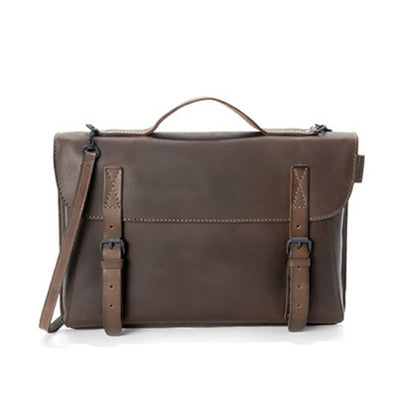 AUNTS & UNCLES EXPERT COFFEE / BROWN LEATHER LARGE PORTFOLIO
